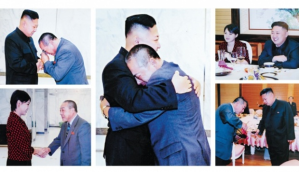 Kenji Fujimoto (light blue jacket) has an emotional reunion with Kim Jong-un during his first visit to North Korea since his escape in 2001. Fujimoto also met Kim's wife, Ri Sol-ju, during his visit in July last year. Photo by Fujimoto; AFP