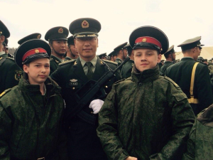 Photos of pupils of Russian military school with Chinese Guards of Honor who have come to Moscow to participate in May-9 military parade marking 70th anniversary of Russia's victory of the Great Patriotic War