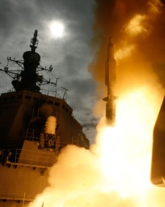 The Japanese navy ship JS KONGO launches a Standard Missile-3 against a ballistic missile during a Dec. 18, 2007, test. (Photo: