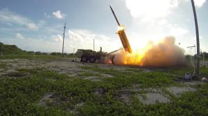 A Terminal High Altitude Area Defense (THAAD) interceptor is launched from a THAAD battery located on Wake Island during Flight Test Operational (FTO)-02 Event 2a, conducted Nov. 1, 2015. (Photo: Missile Defense Agency Ben Listerman)